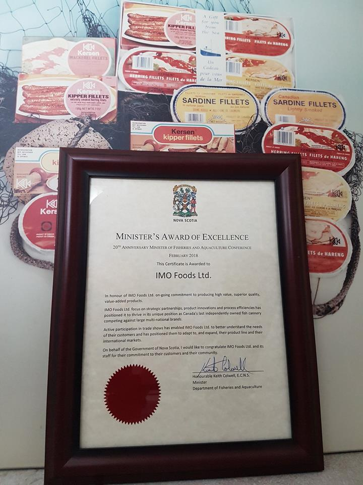 IMO Foods Honored by Nova Scotia Department of Fisheries and Aquaculture Fisheries Minister