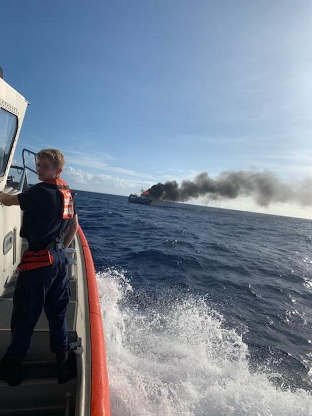 Coast Guard Rescues Fishing Crew from Burning Boat Off Hawaii