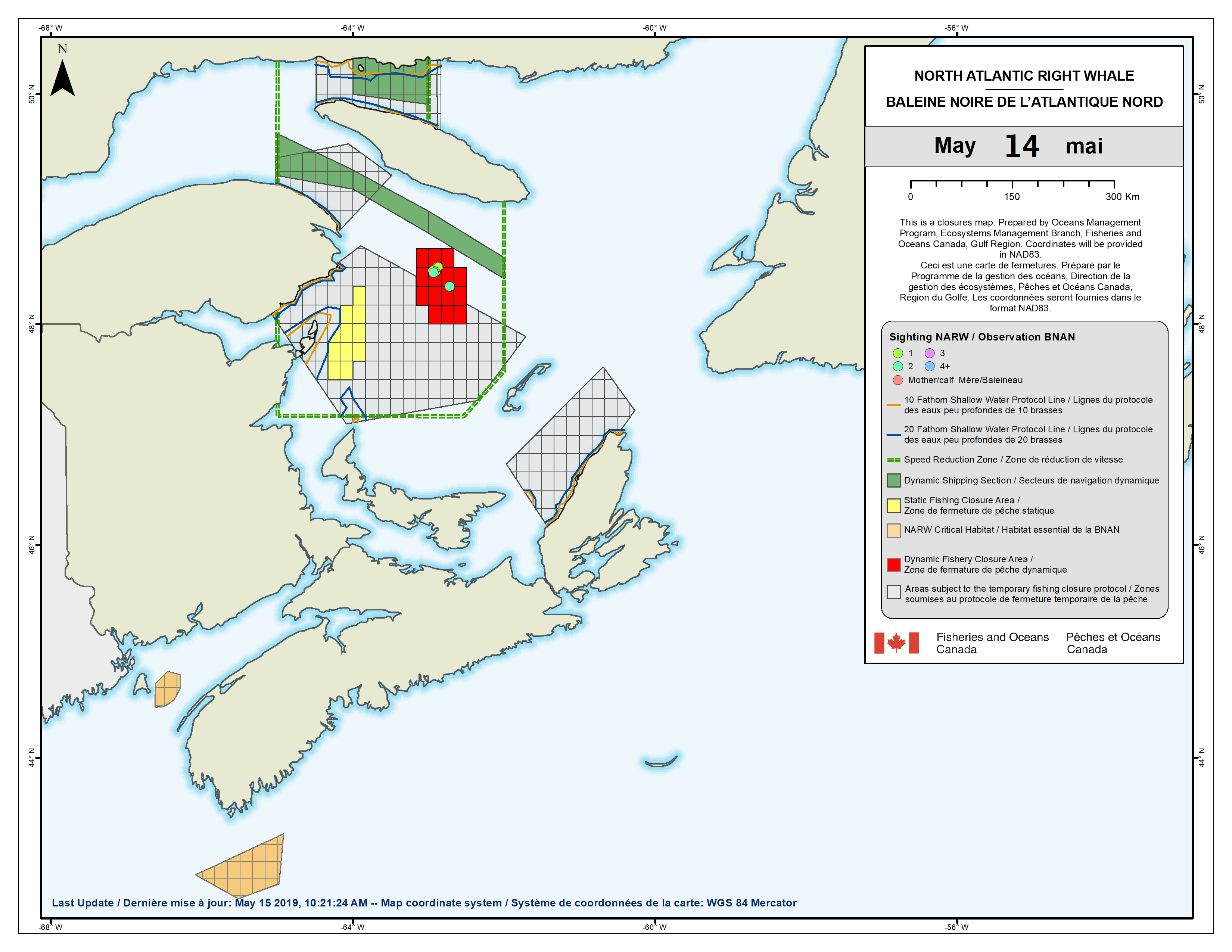 DFO Temporarily Closes Fishing Areas Due to Presence of North Atlantic Right Whales