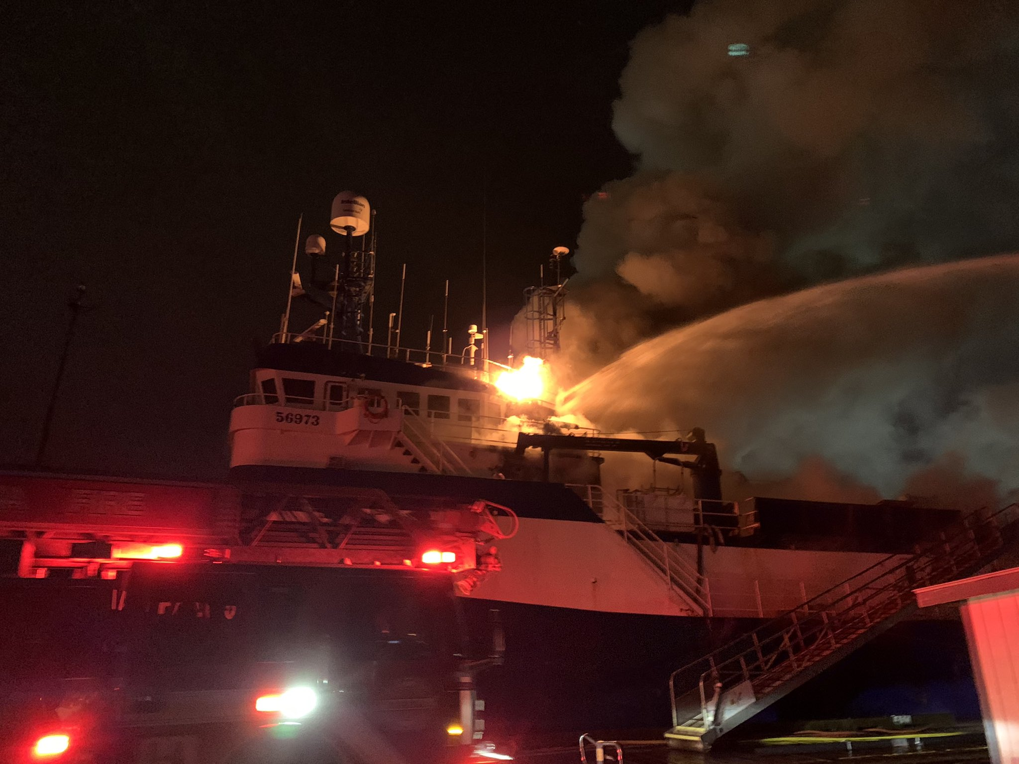 PHOTOS: Firefighters Battle Large Fire on Trident Floating Processor the Aleutian Falcon