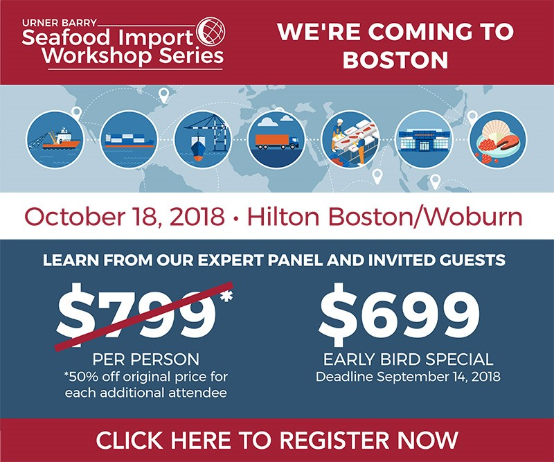 Early Bird Pricing for Urner Barry's Seafood Import Workshop in Boston Ends Friday
