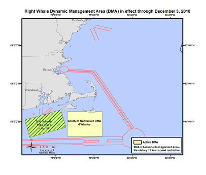 NOAA Establishes New Voluntary Right Whale Speed Restriction Zone South of Nantucket